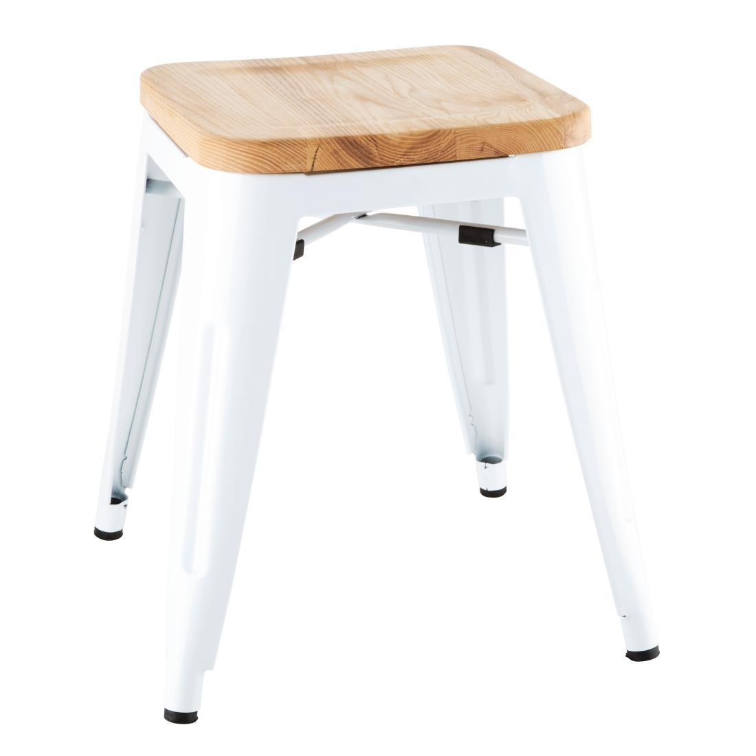 Image of Bolero Bistro Low Stools with Wooden Seatpad White (Pack of 4) Pack of 4