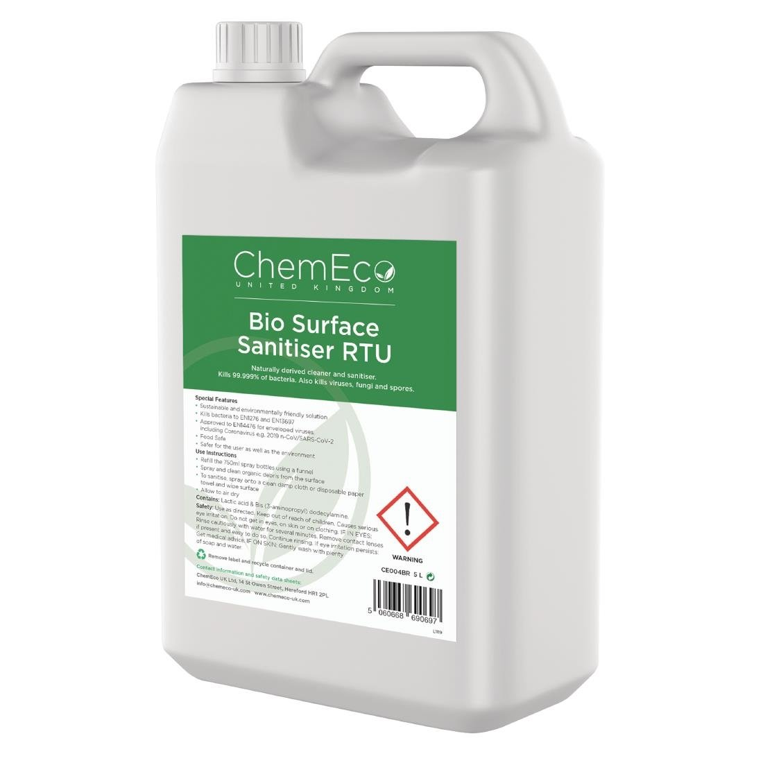 Image of ChemEco Bio Surface Sanitiser Ready To Use 5Ltr (Pack of 2)