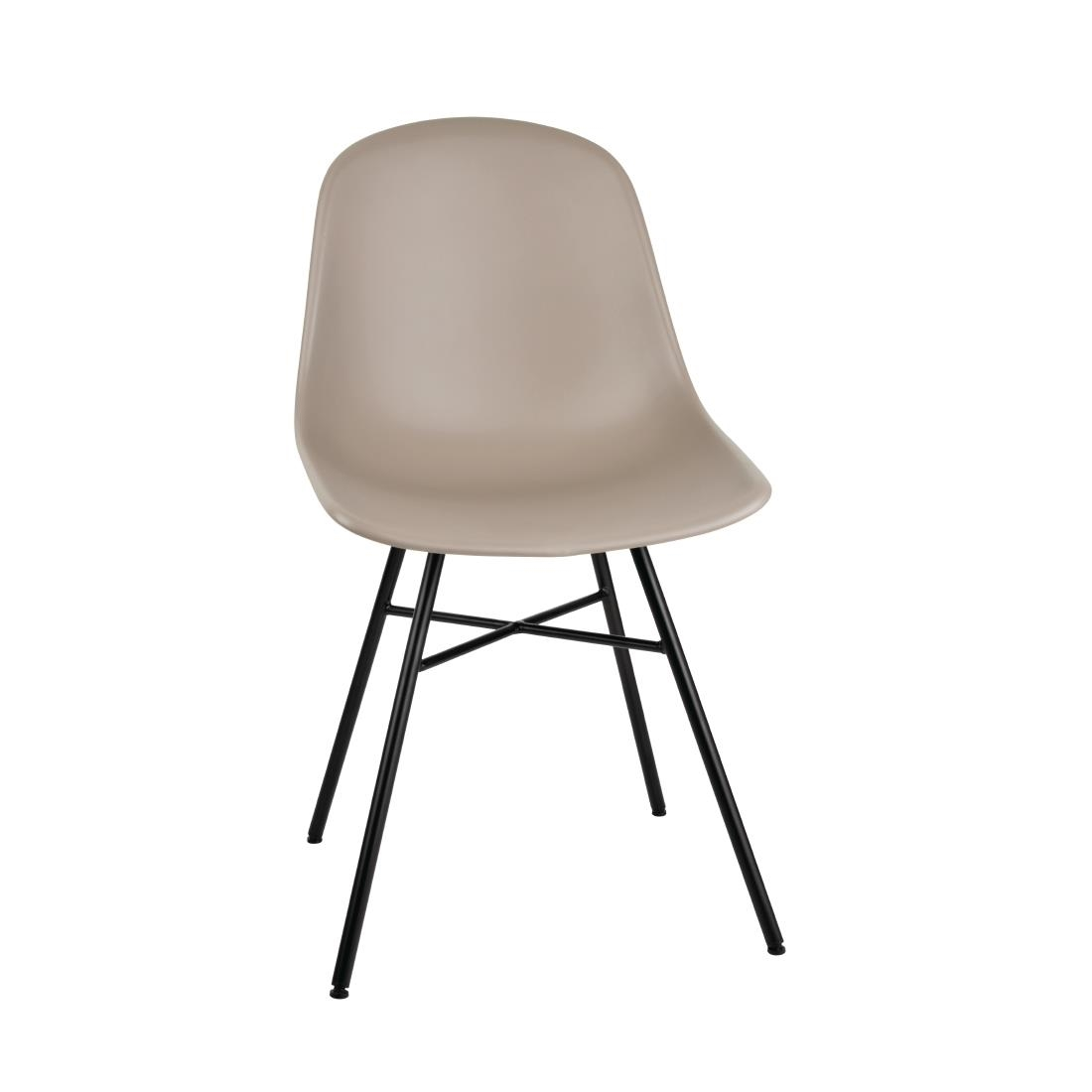 Image of Bolero Arlo Side Chair with Metal Frame Coffee (Pack of 2) Pack of 2