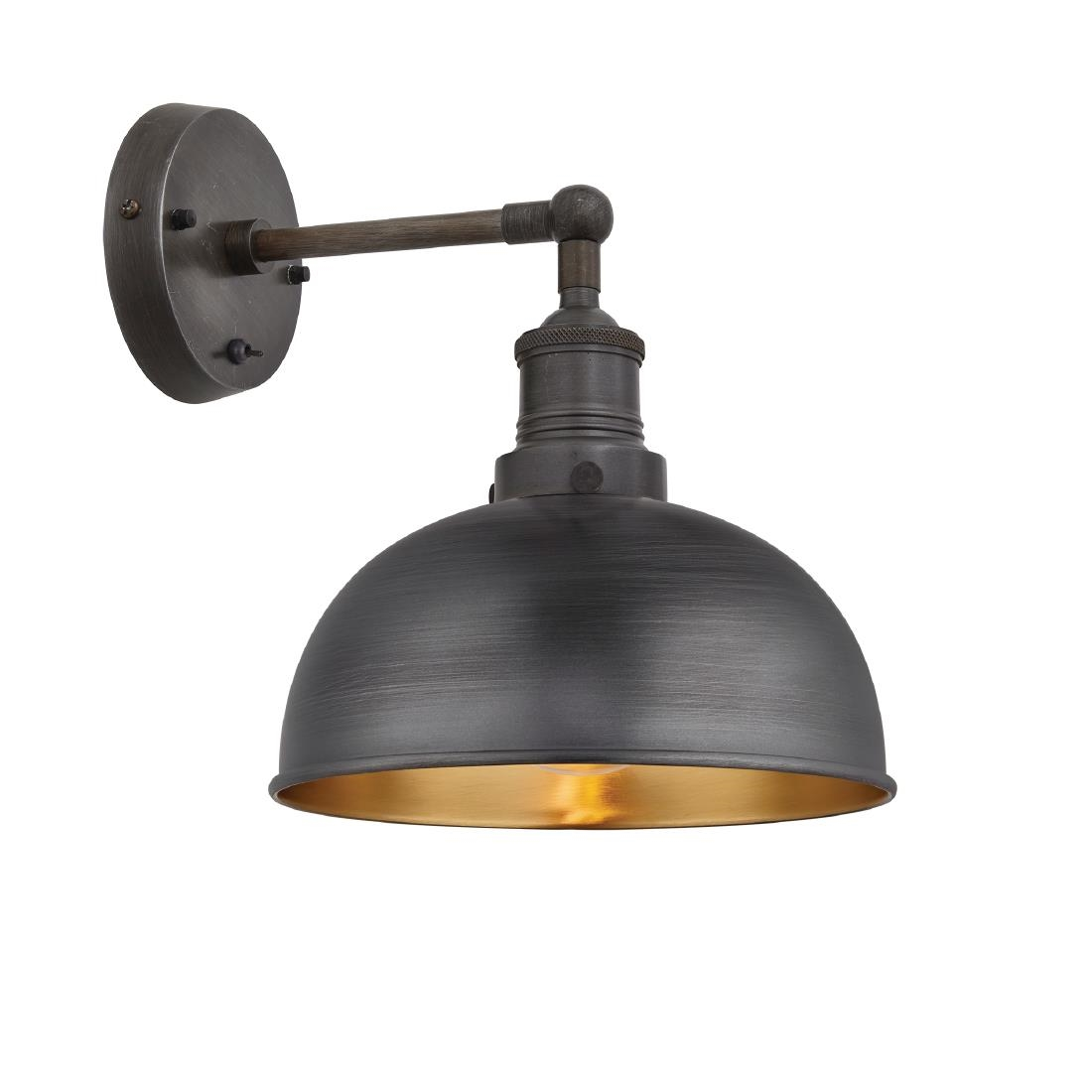 Industville Brooklyn Dome Wall Light Pewter And Br 205mm