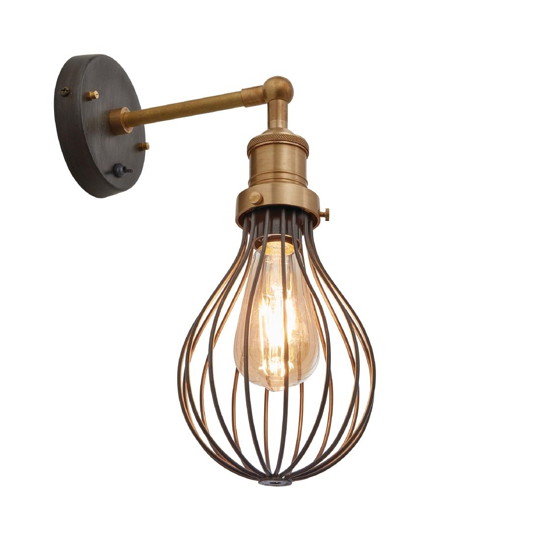 Image of Industville Brooklyn Balloon Cage Wall Light Pewter 140mm