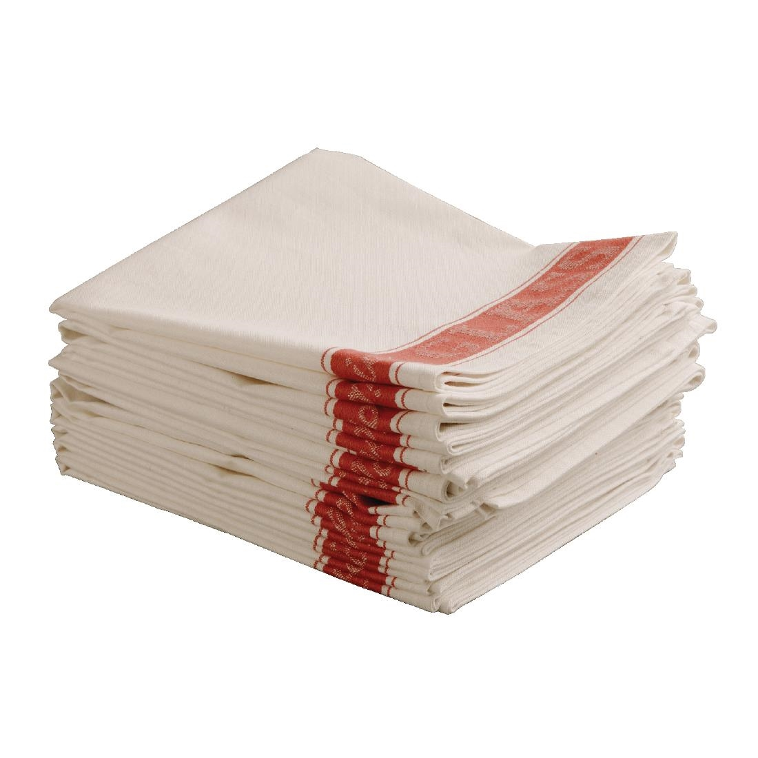 Vogue Red Border Glass Cloth Cleaning Polishes Linen Tea ...