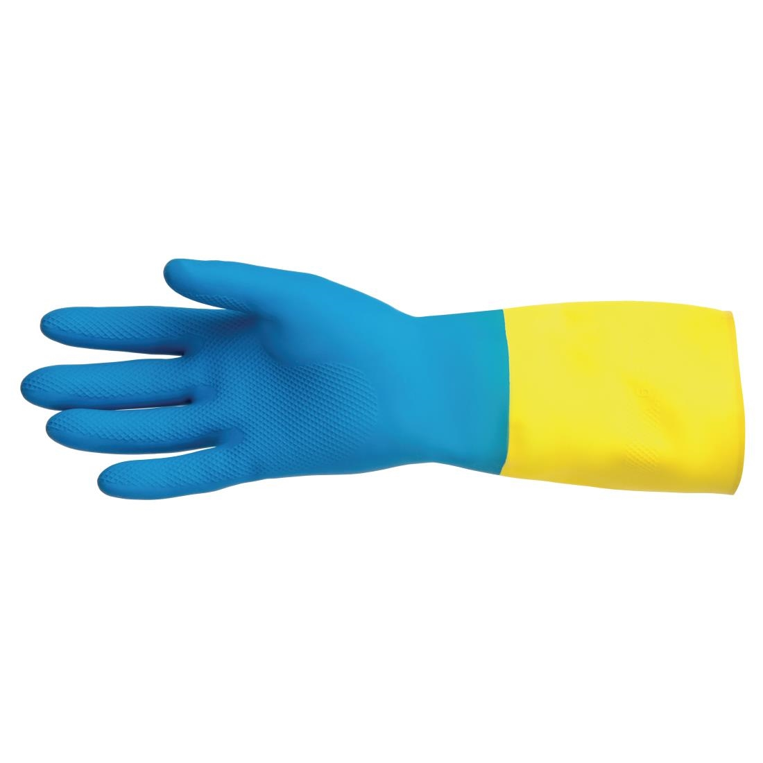 Image of MAPA Alto 405 Liquid-Proof Heavy-Duty Janitorial Gloves Blue and Yellow Extra Large