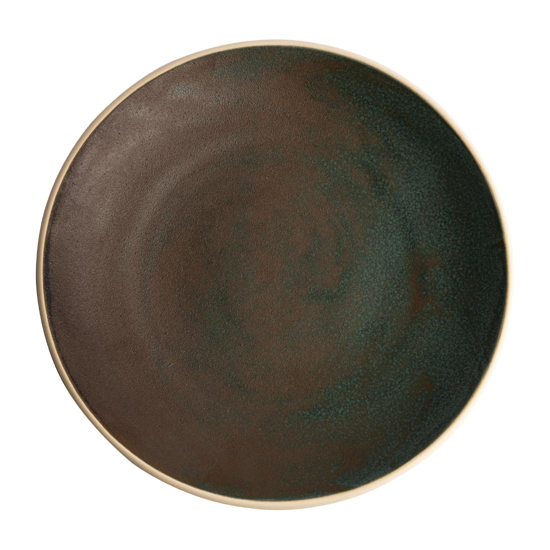 Olympia Canvas Concave Plate Green Verdigris 270mm Pack of 6