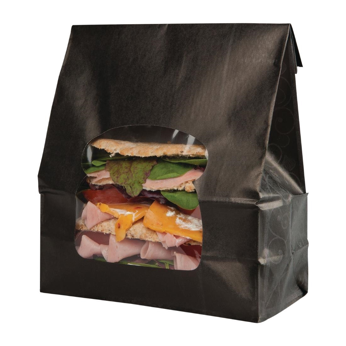 Colpac Recyclable Paper Sandwich Bags With Window Black Pack Of 250