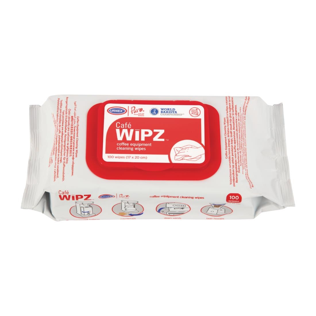 Image of Urnex Café Wipz Coffee Equipment Cleaning Wipes (12 x 100 Pack) Pack of 12
