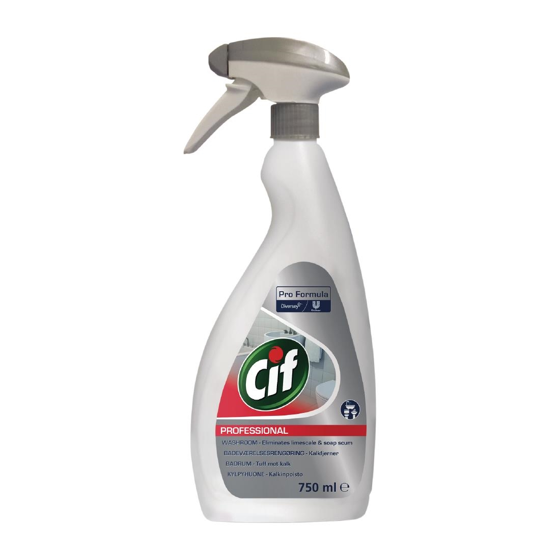 Image of Cif Pro Formula 2-in-1 Washroom Cleaner and Descaler Ready To Use 750ml (6 Pack) Pack of 6