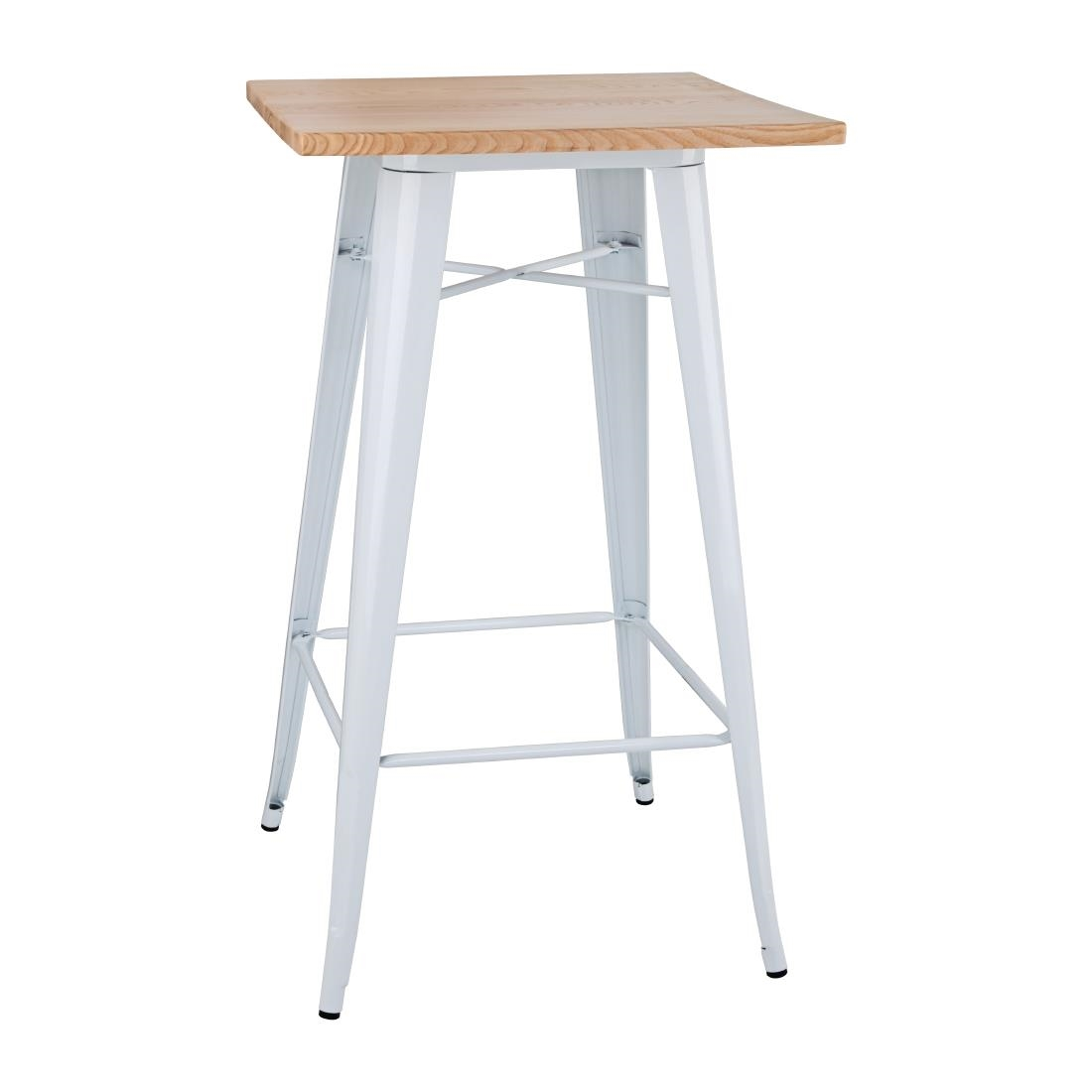 Image of Bolero Bistro Bar Table with Wooden Top White (Single)