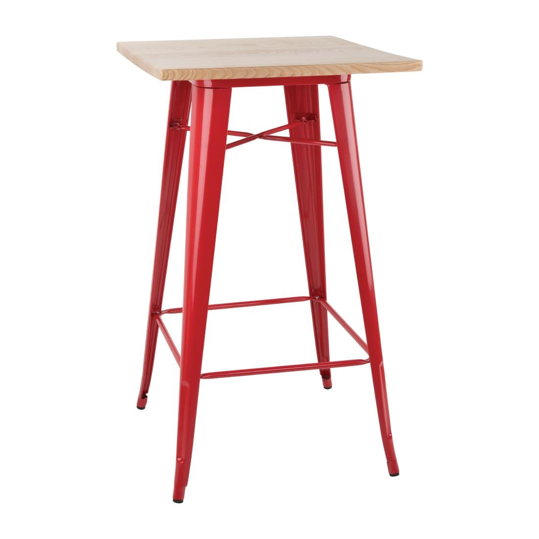 Image of Bolero Bistro Bar Table with Wooden Top Red (Single)