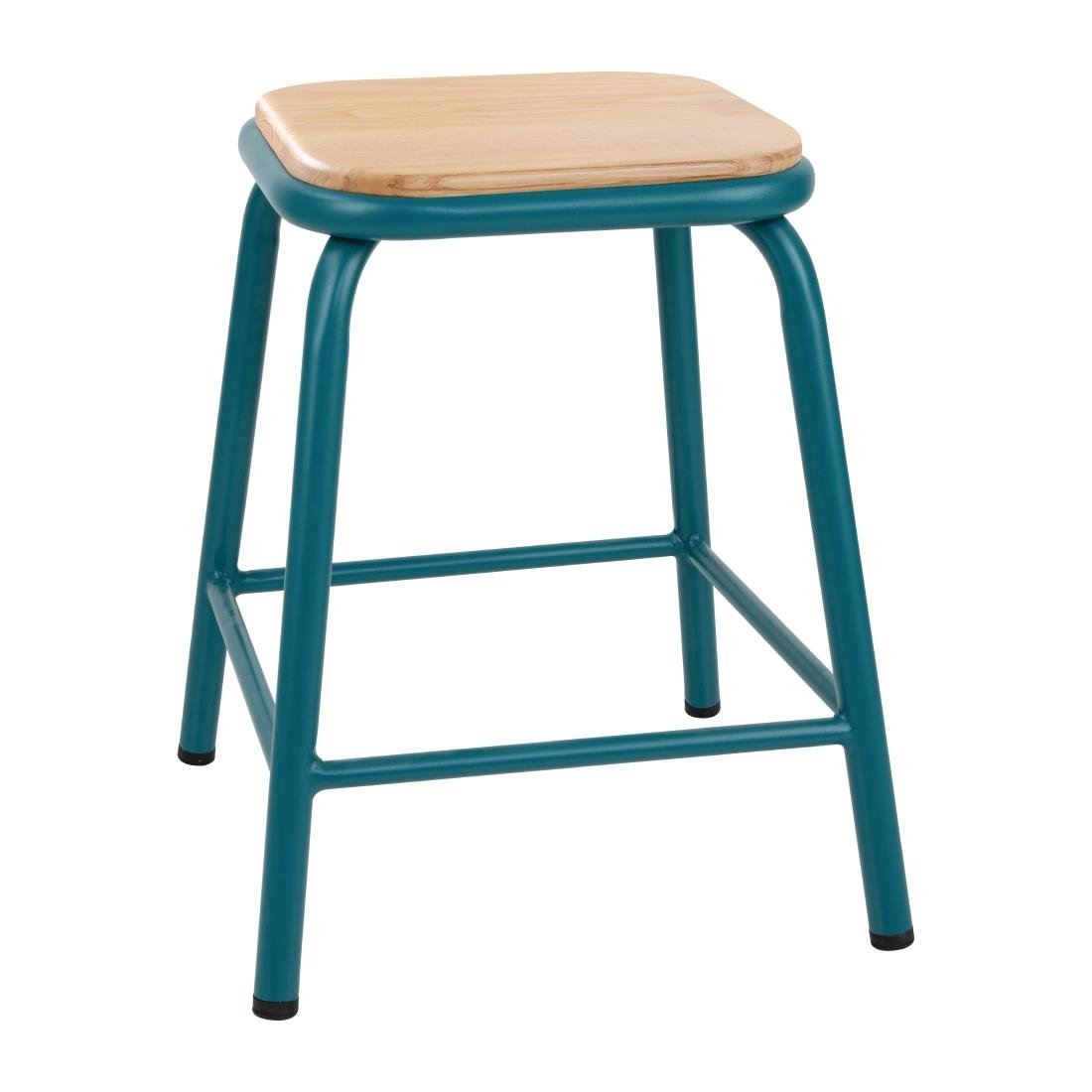 Image of Bolero Cantina Low Stools with Wooden Seat Pad Teal (Pack of 4) Pack of 4