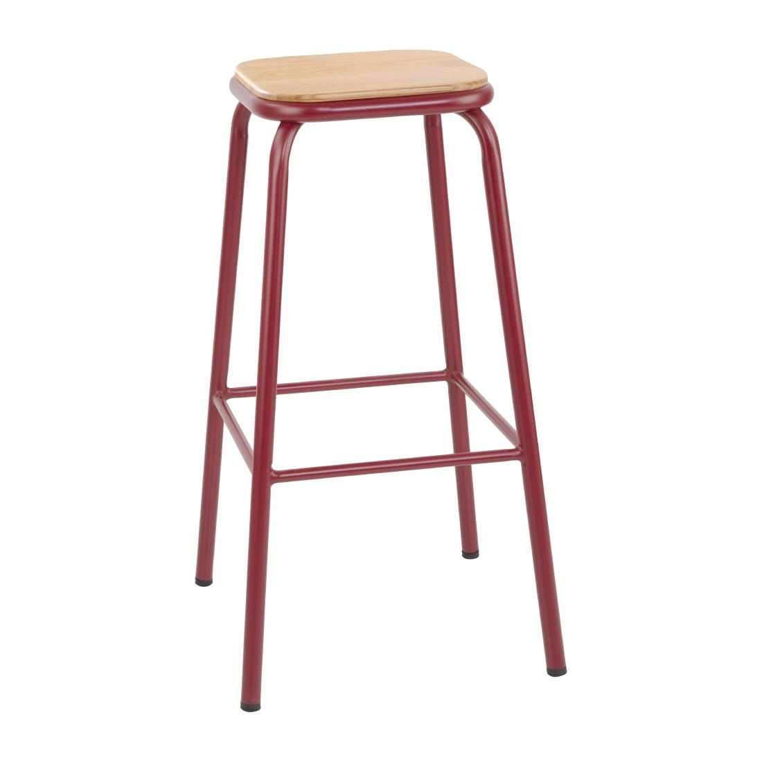 Image of Bolero Cantina High Stools with Wooden Seat Pad Wine Red (Pack of 4) Pack of 4