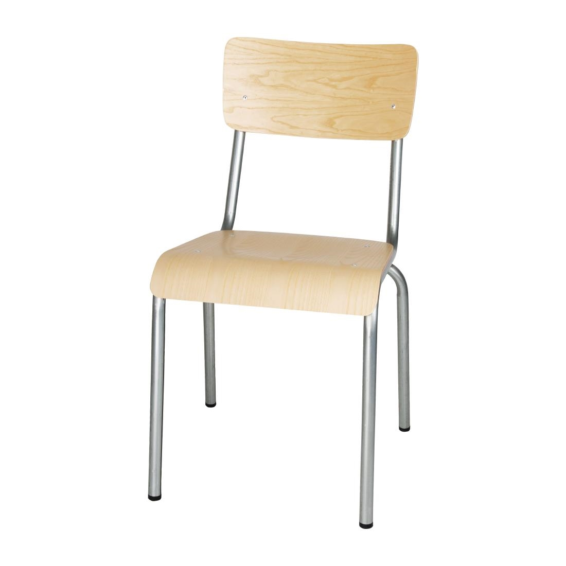 Image of Bolero Cantina Side Chairs with Wooden Seat Pad and Backrest Galvanised (Pack of 4) Pack of 4