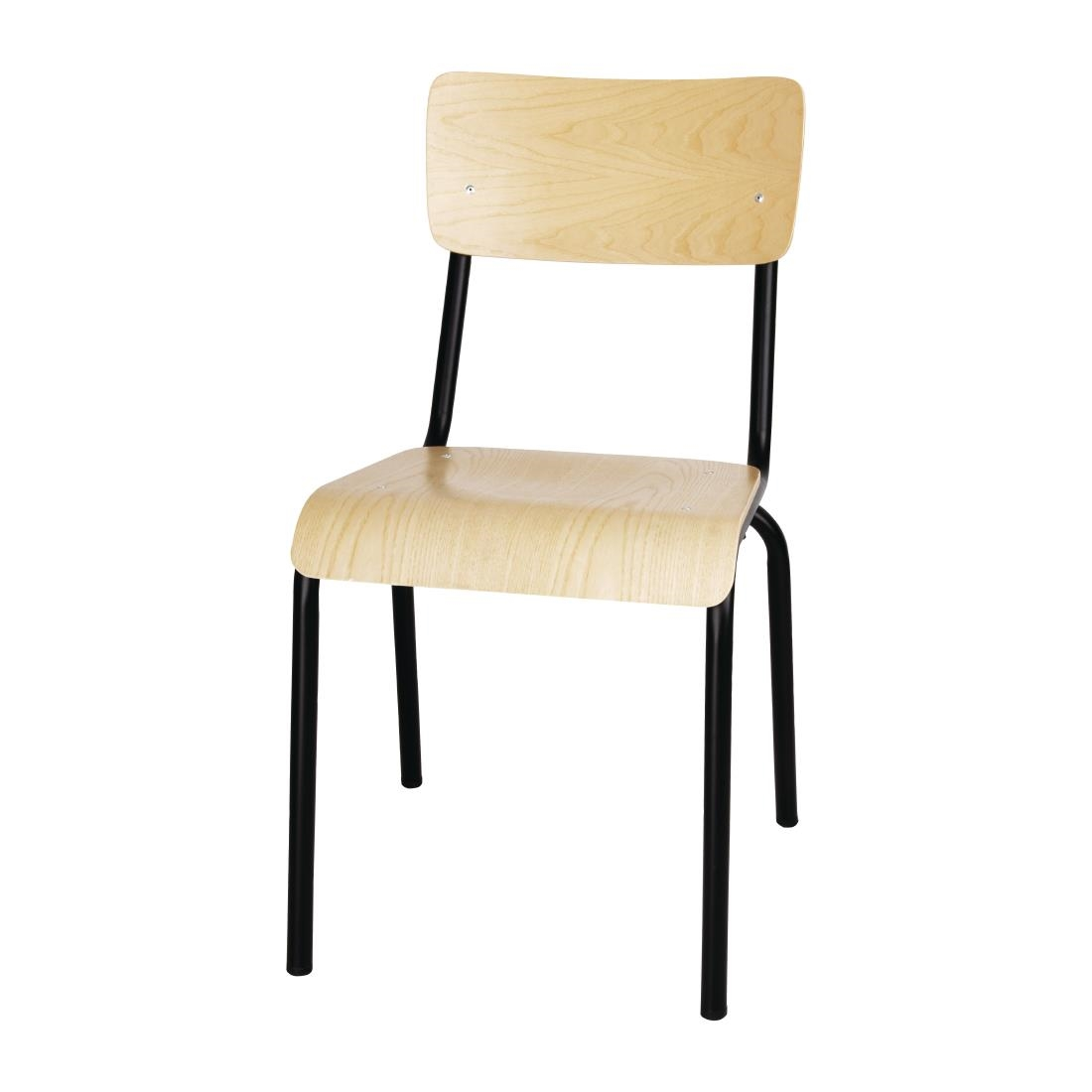 Image of Bolero Cantina Side Chairs with Wooden Seat Pad and Backrest Black (Pack of 4) Pack of 4