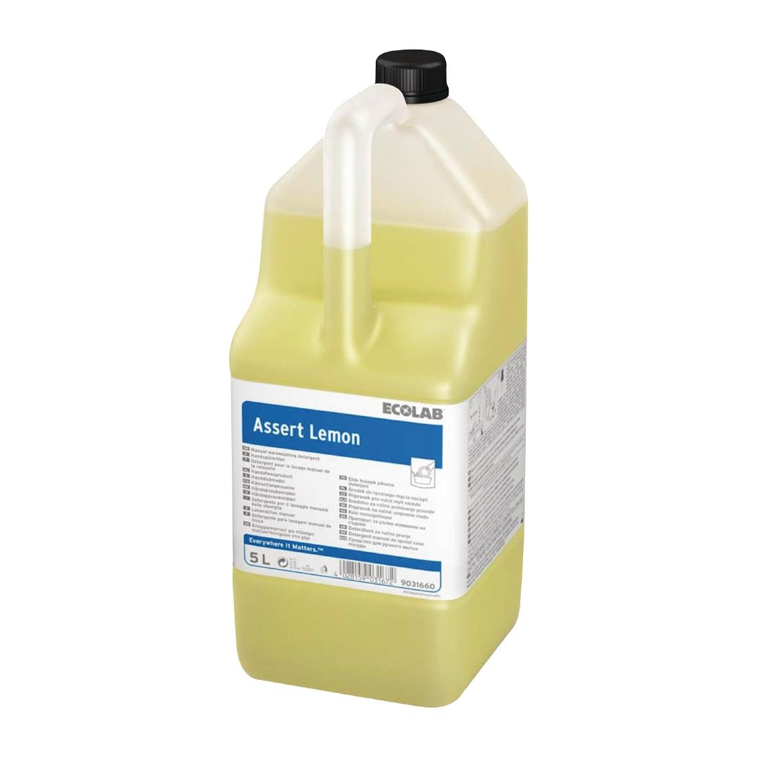 Image of Ecolab Assert Lemon Washing Up Liquid Concentrate 5Ltr (2 Pack) Pack of 2