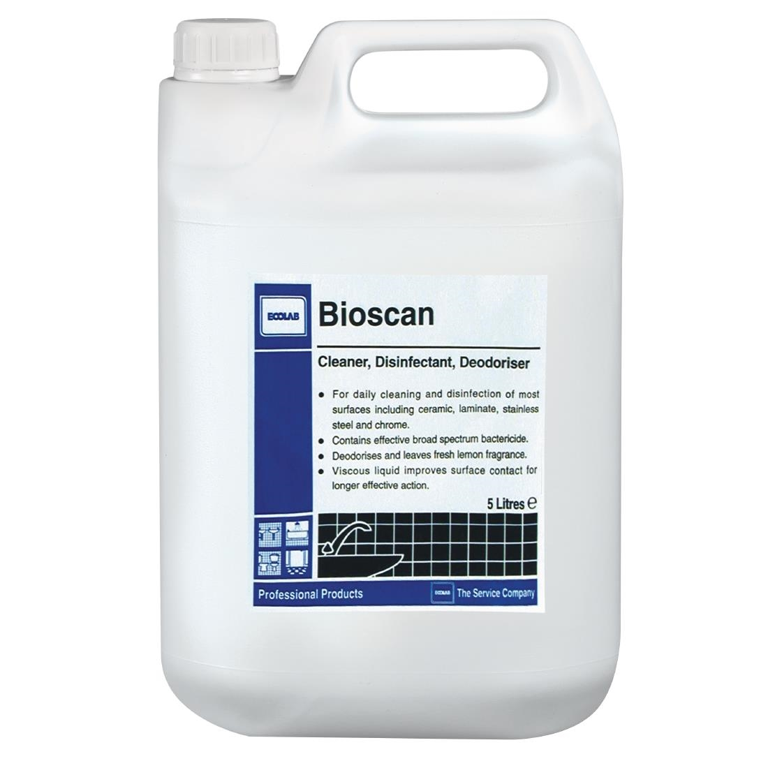 Image of Ecolab Bioscan Lemon Hard Surface Cleaner and Disinfectant Concentrate 5Ltr (4 Pack) Pack of 4