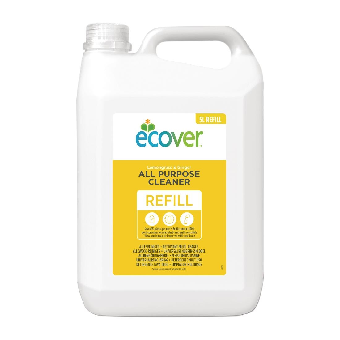 Image of Ecover Lemongrass and Ginger All-Purpose Cleaner Concentrate 5Ltr (4 Pack) Pack of 4