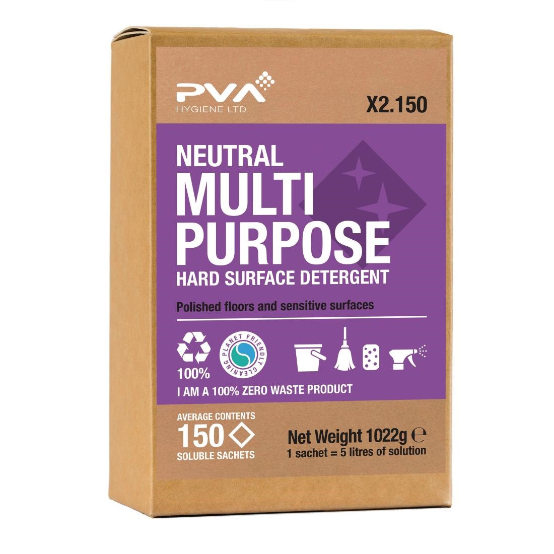 Image of PVA Hygiene Neutral Multi-Purpose Hard Surface Detergent Soluble Sachets (150 Sachets) Pack of 150