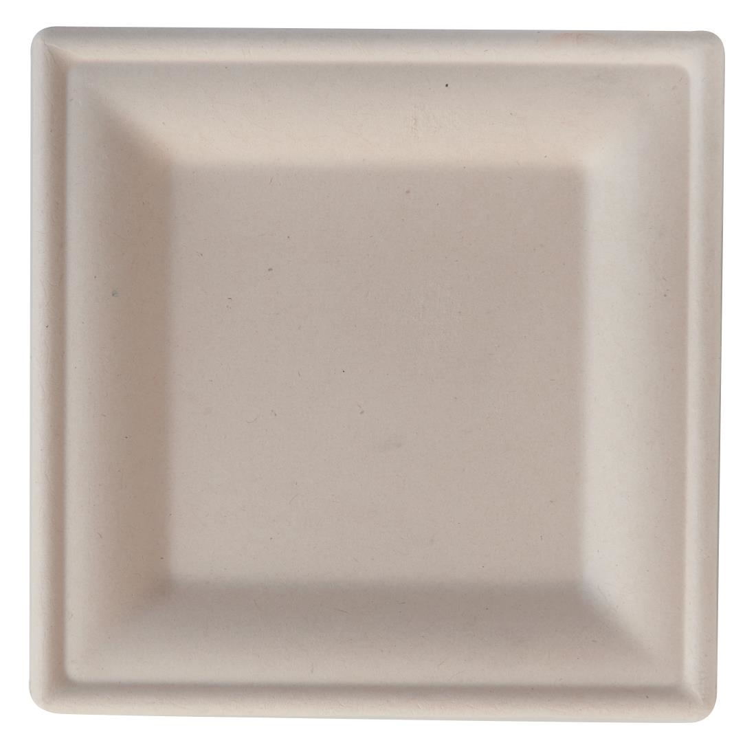 Image of eGreen Eco-Fibre Compostable Wheat Square Plates 200mm (Pack of 500) Pack of 500