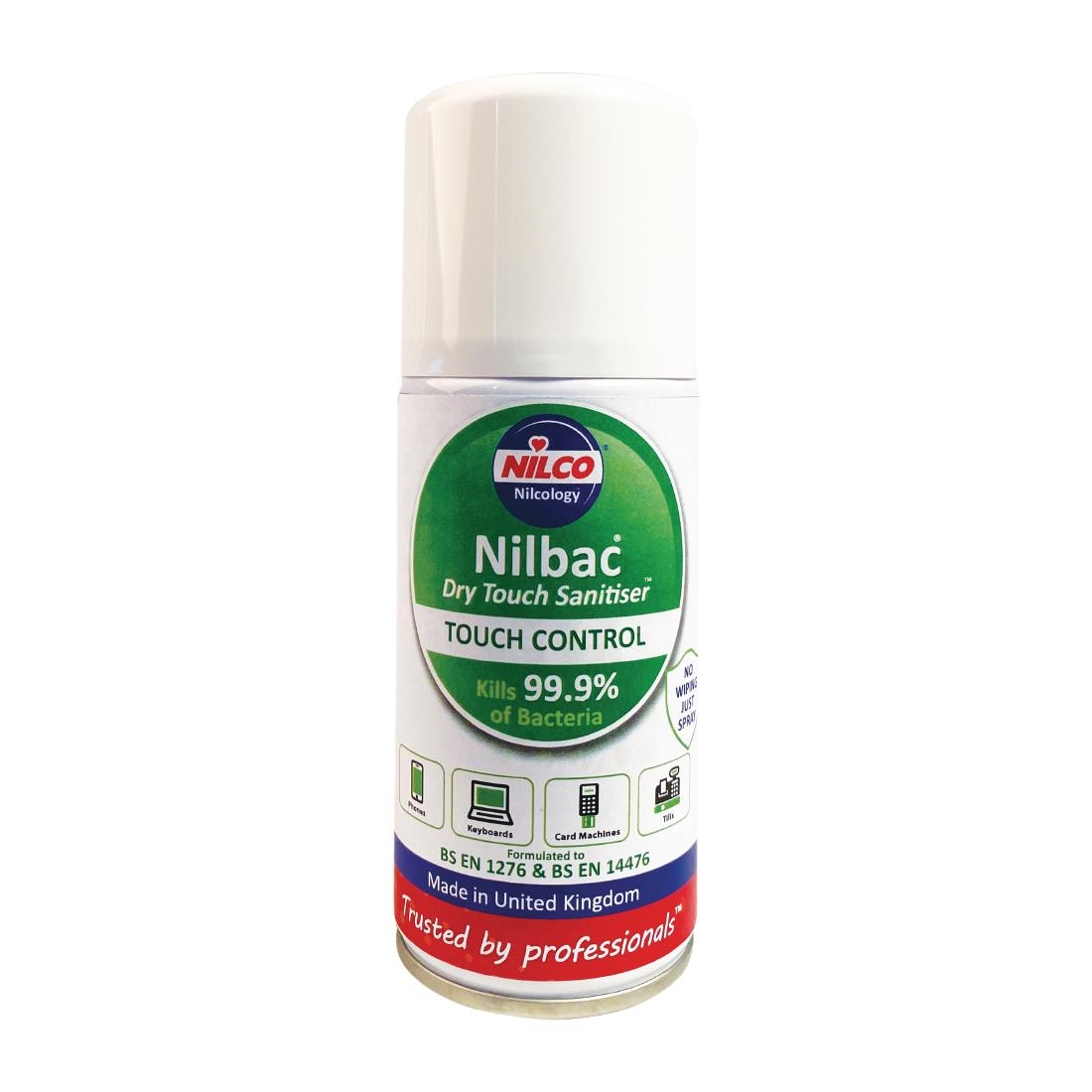 Click to view product details and reviews for Nilco Nilbac Dry Touch Surface Sanitiser Aerosol 150ml.