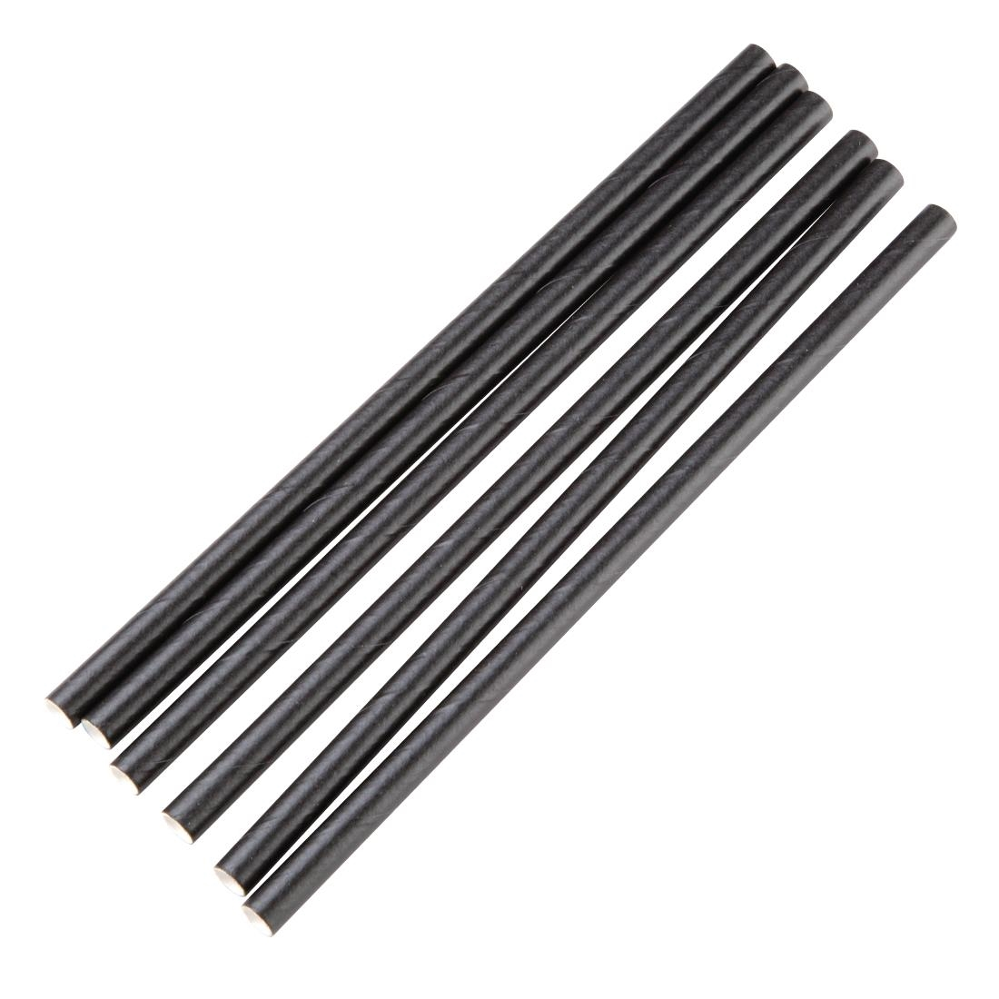 Image of Fiesta Green Individually Wrapped Compostable Paper Cocktail Stirrer Straws Black (Pack of 250)