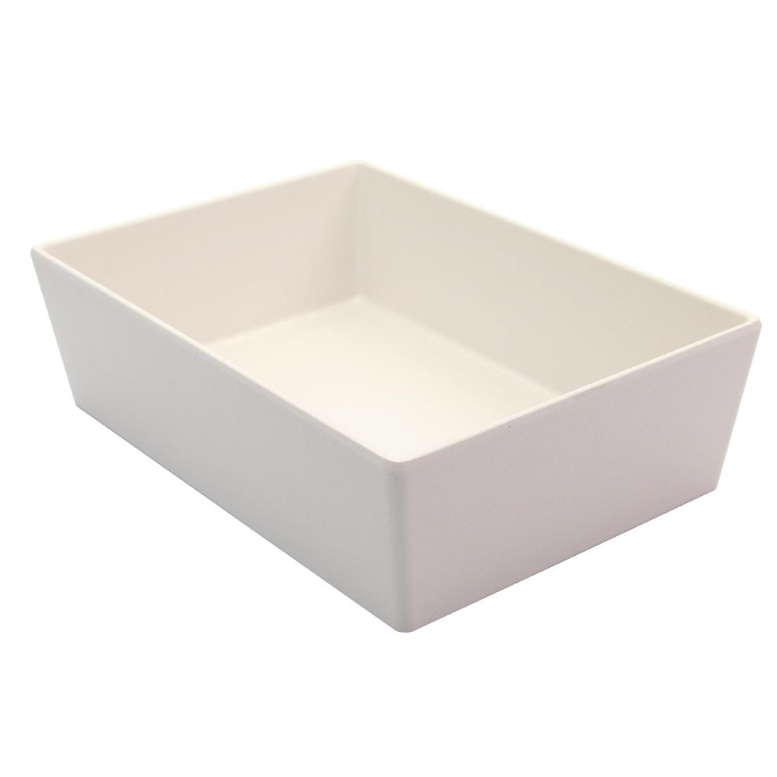 Image of Creative Melamine Salad Boxes White Bamboo 205x145x60mm (Pack of 6)
