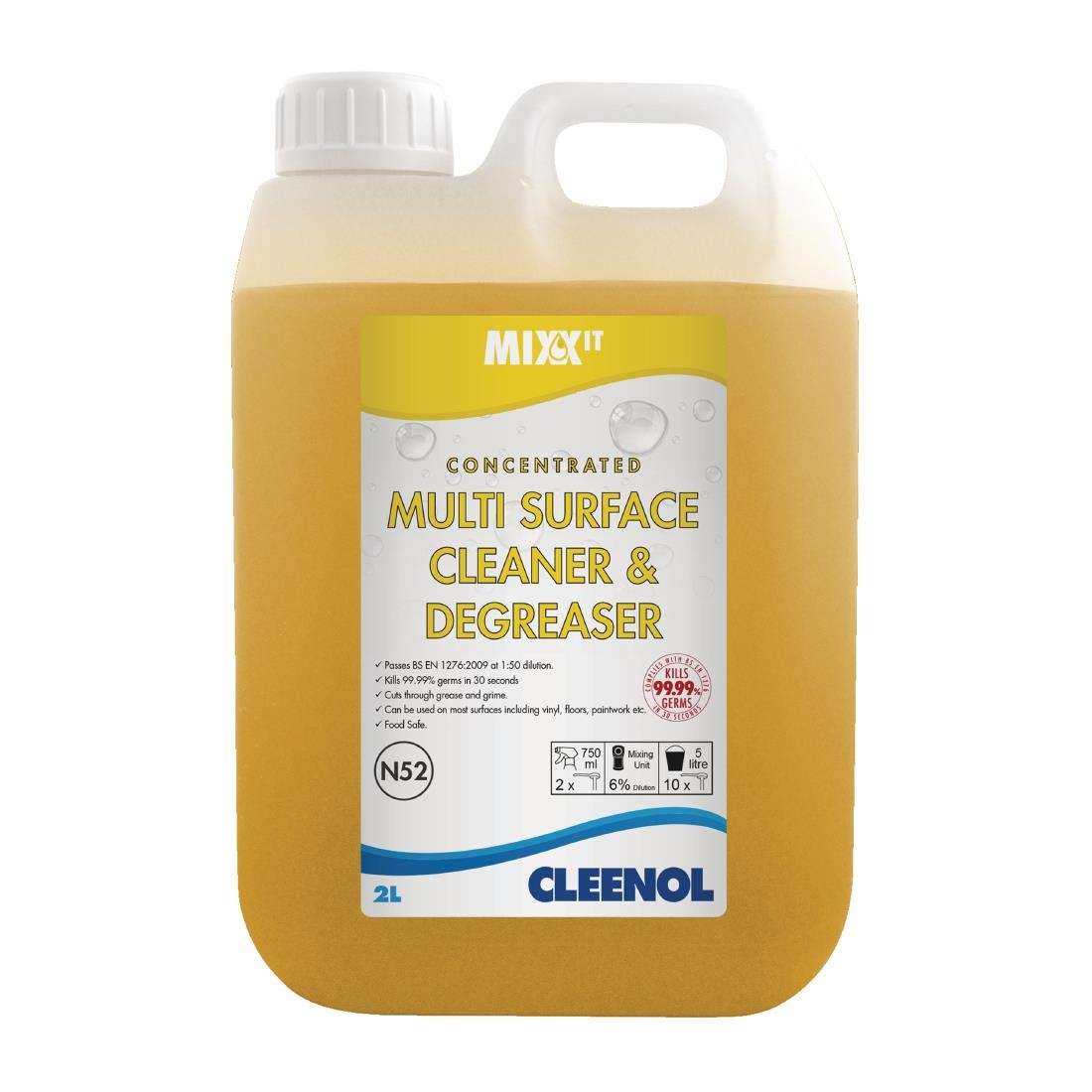 Image of Cleenol Mixx It Multi Purpose Surface Cleaner and Degreaser 2Ltr (Pack of 2) Pack of 2