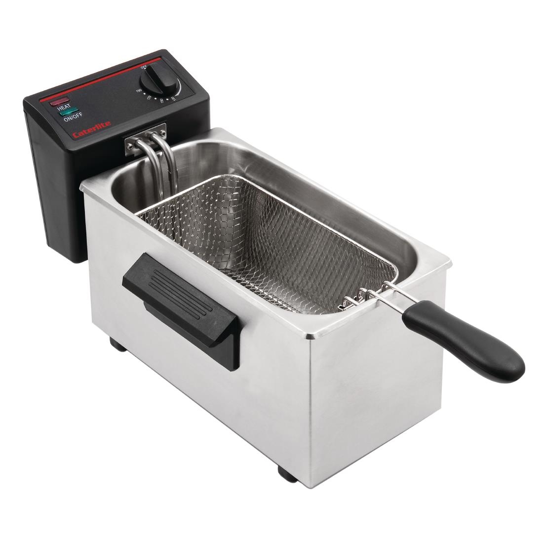 Caterlite Light Duty Single Tank Single Basket Countertop Electric Fryer 2kW