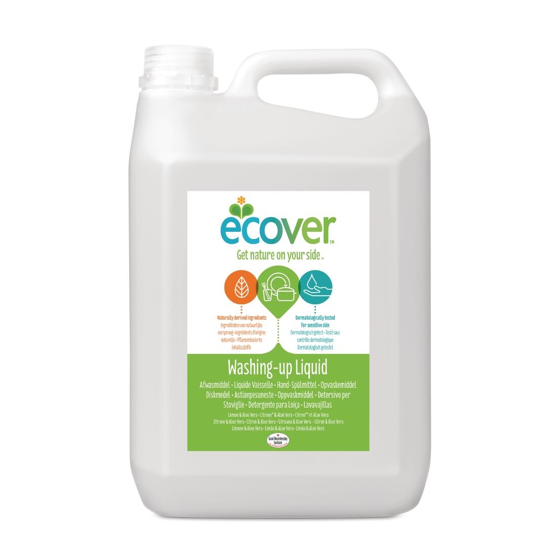 Image of Ecover Lemon and Aloe Vera Washing Up Liquid Concentrate 5Ltr