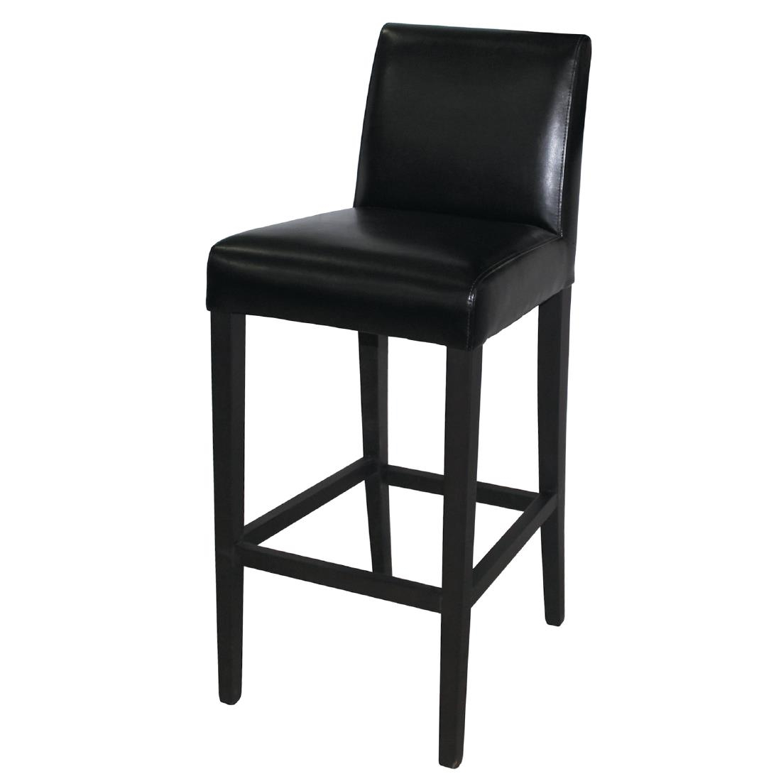 Black faux leather high bar stool with full back