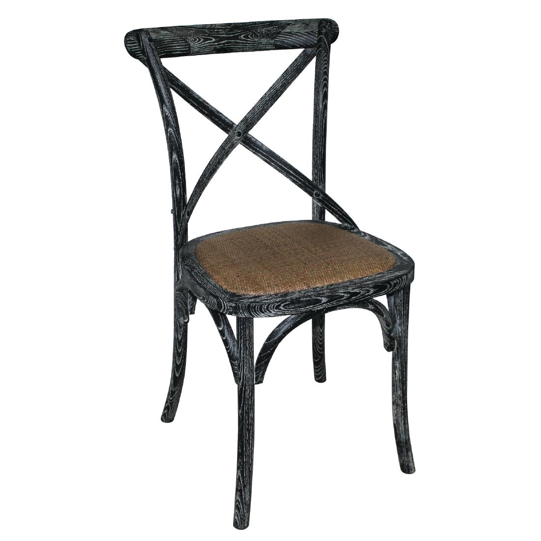 Bolero black wooden dining chairs with backrest pack