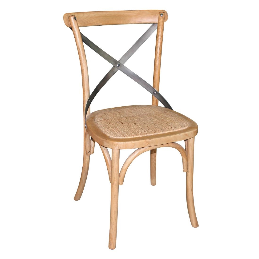 Bolero Natural Bentwood Chairs With Metal Cross Backrest Pack Of 2