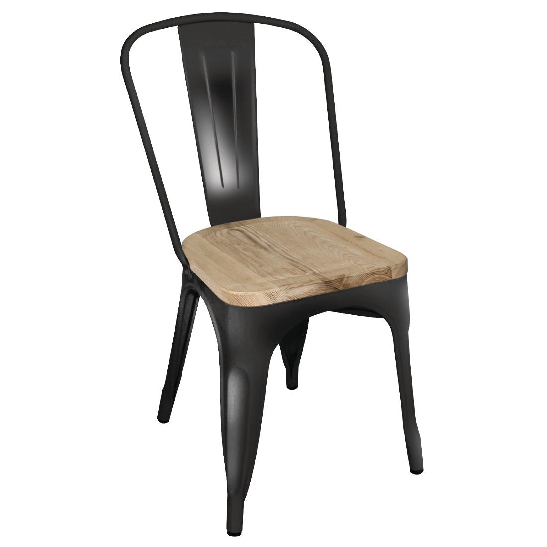 Side Chairs With Wooden Seat Pads Black