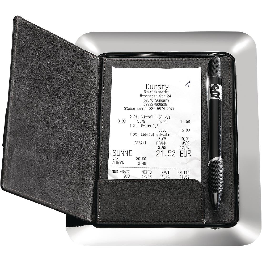 Image of APS Stainless Steel and Leather Bill Presenter