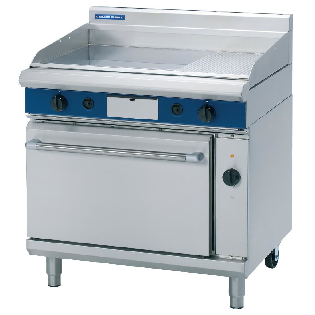 Image of Blue Seal Evolution Nat Gas 1/3 Ribbed Griddle Electric Convection Oven 900mm GPE56/N