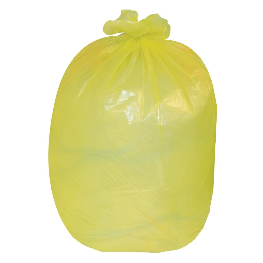 Image of Jantex Large Medium Duty Yellow Bin Bags 90Ltr (Pack of 200) Pack of 200