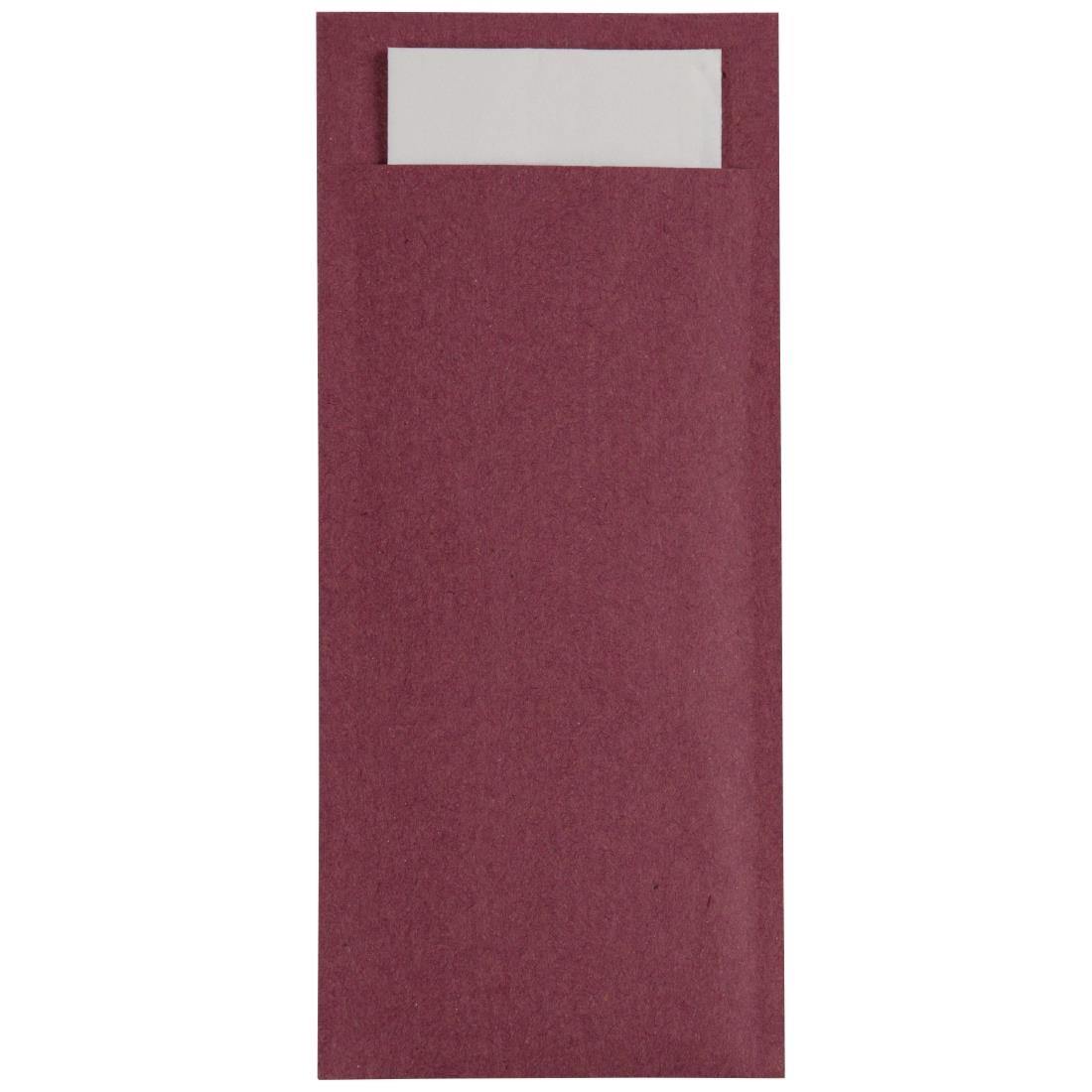 Image of Europochette Kraft Burgundy Cutlery Pouch with Champagne Napkin x 600 Pack of 600