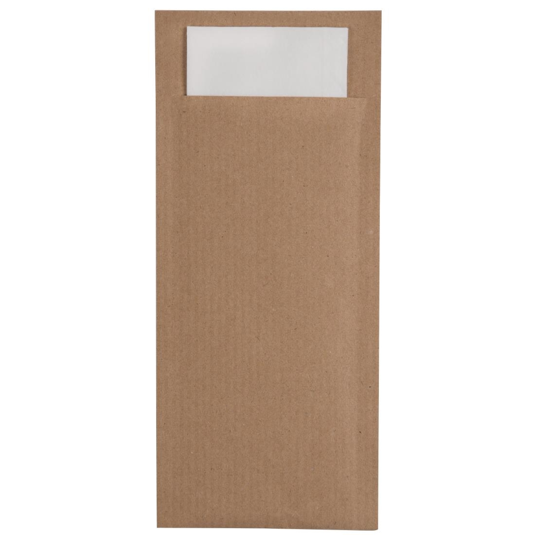 Image of Europochette Kraft Brown Cutlery Pouch with White Napkin (Pack of 600) Pack of 600