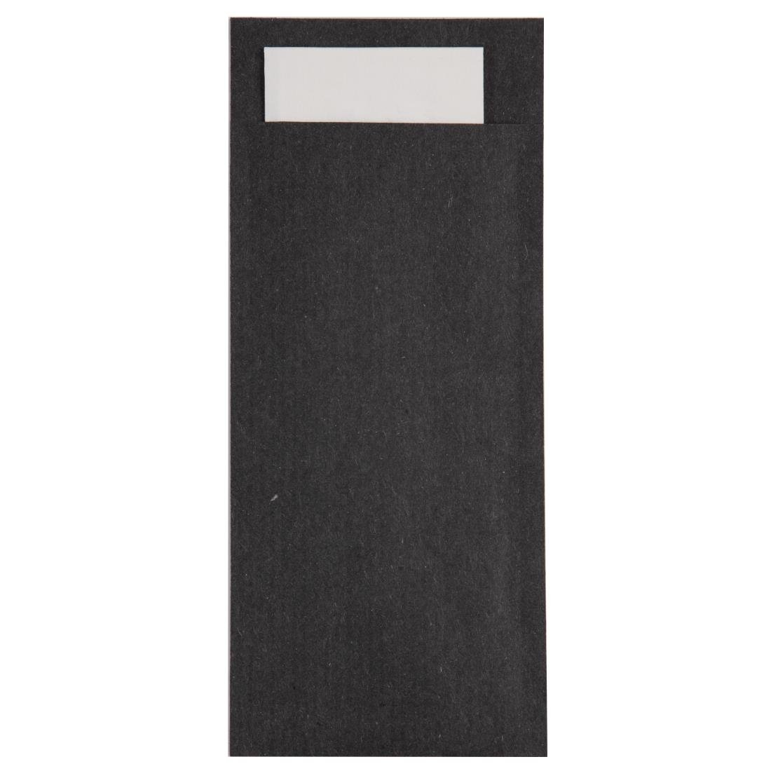 Image of Europochette Kraft Black Cutlery Pouch with White Napkin (Pack of 600) Pack of 600