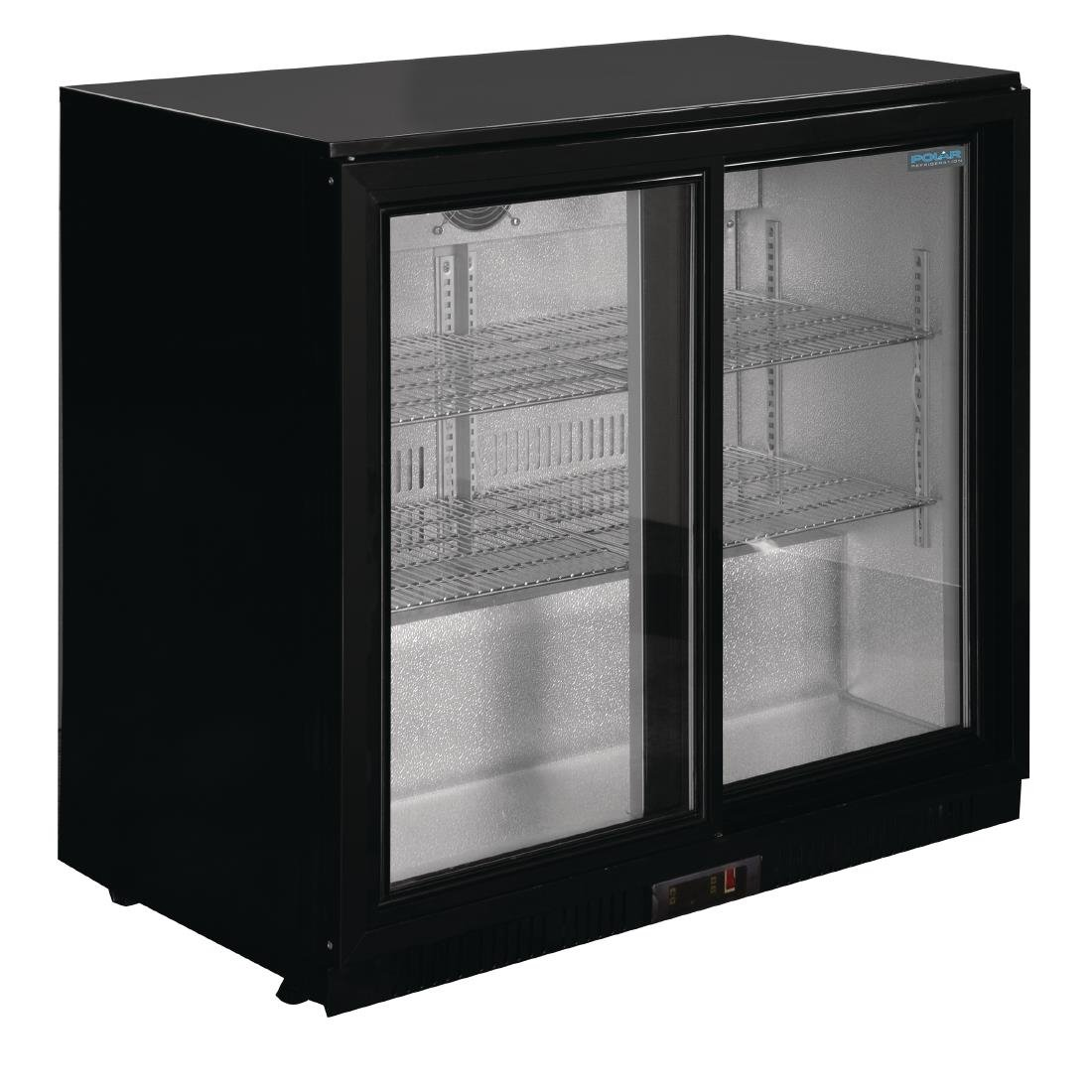 Polar Refrigerated Double Sliding Door Back Bar Cooler 850mm Black