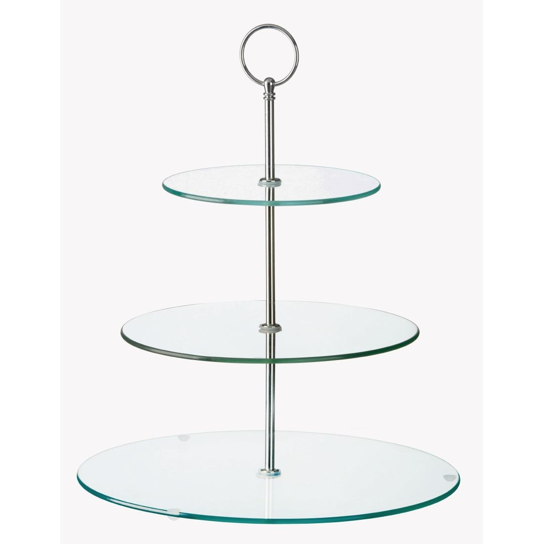 Image of Glass Three Tiered Afternoon Tea Cake Stand