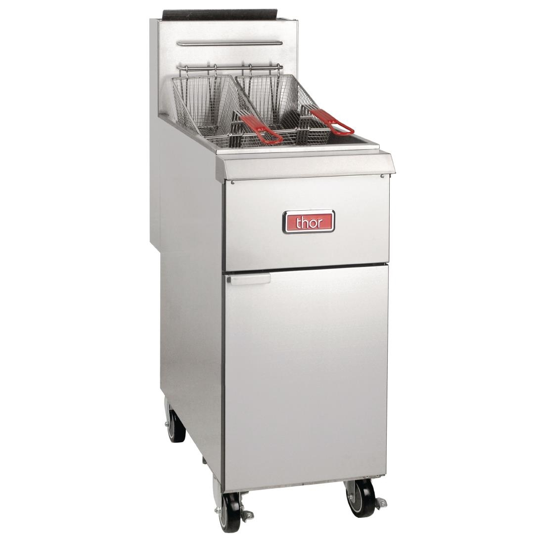 Thor Single Tank Twin Basket Free Standing Natural Gas Fryer 25Ltr