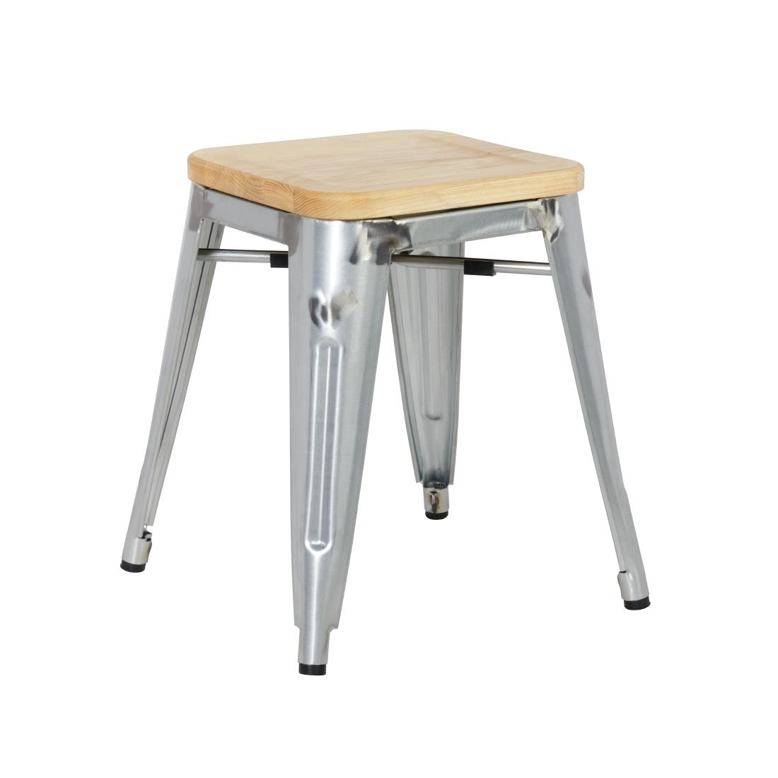 Fabulous Bolero Bistro Low Stools With Wooden Seat Pad Galvanised Steel Pack Of 4 Gmtry Best Dining Table And Chair Ideas Images Gmtryco