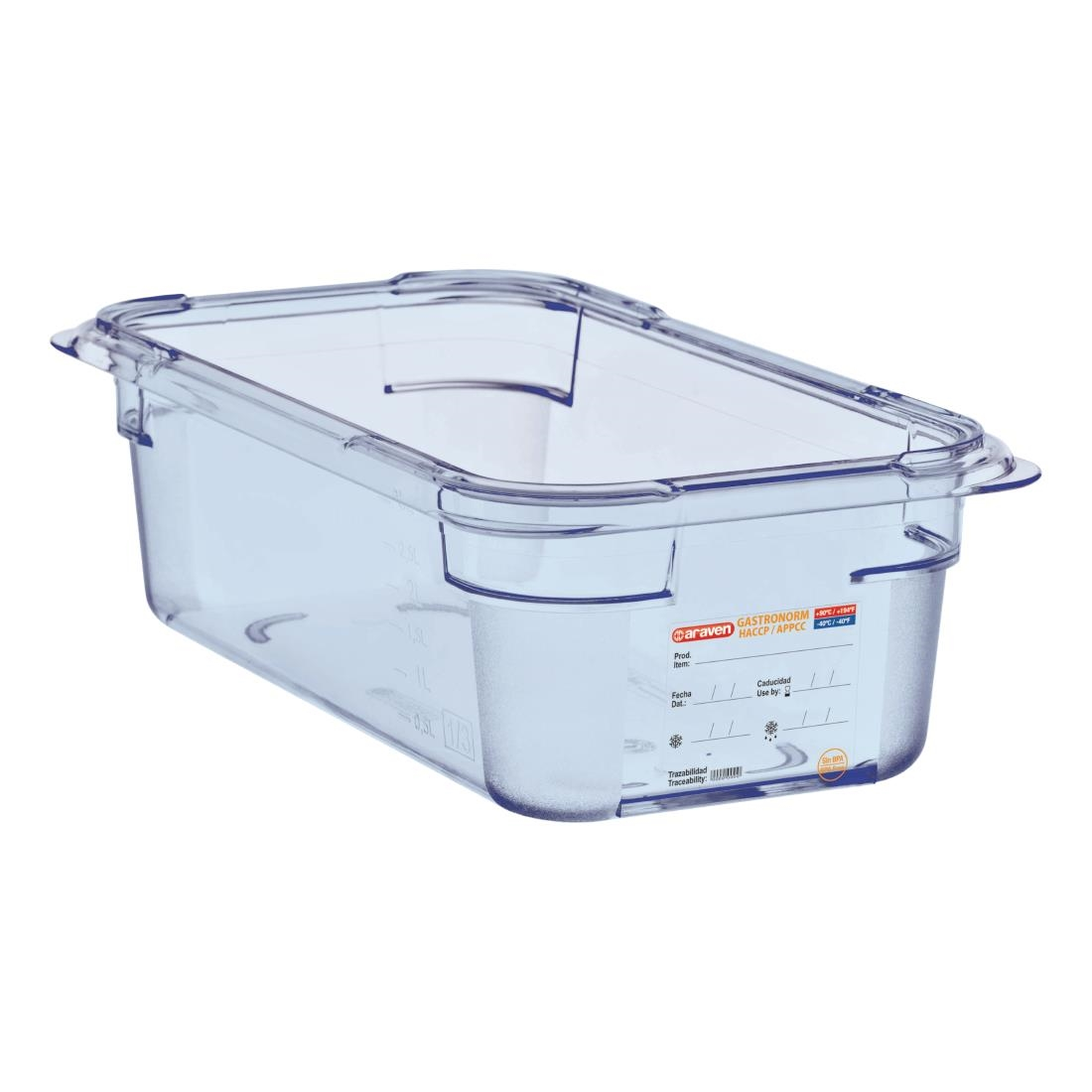Image of Araven ABS Food Storage Container Blue GN 1/3 100mm