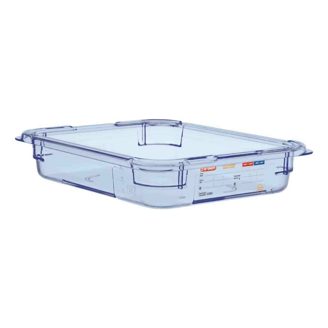 Image of Araven ABS Food Storage Container Blue GN 1/2 65mm