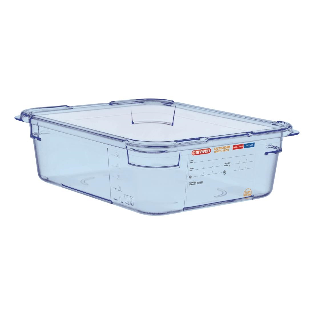 Image of Araven ABS Food Storage Container Blue GN 1/2 100mm
