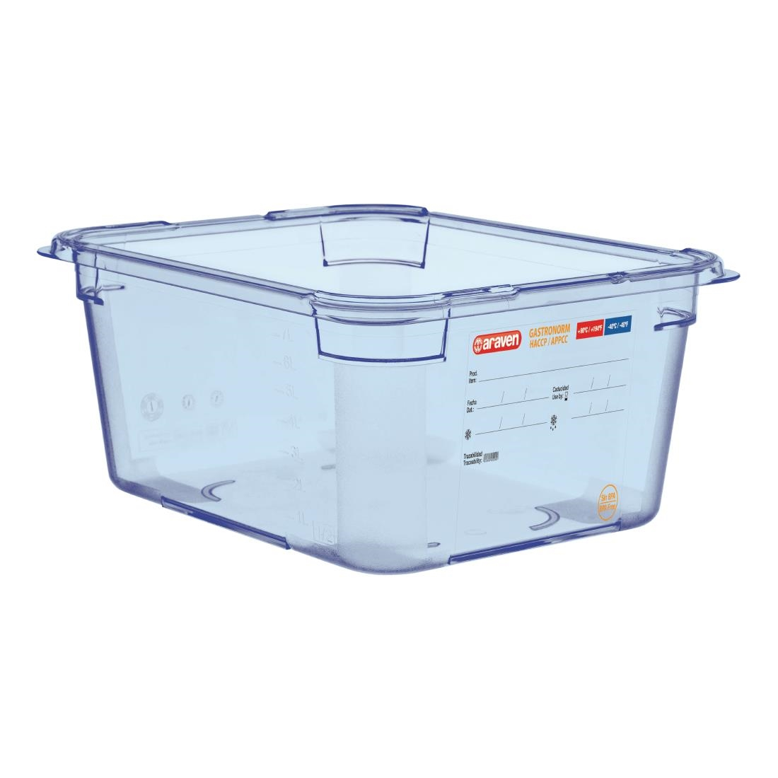 Image of Araven ABS Food Storage Container Blue GN 1/2 150mm