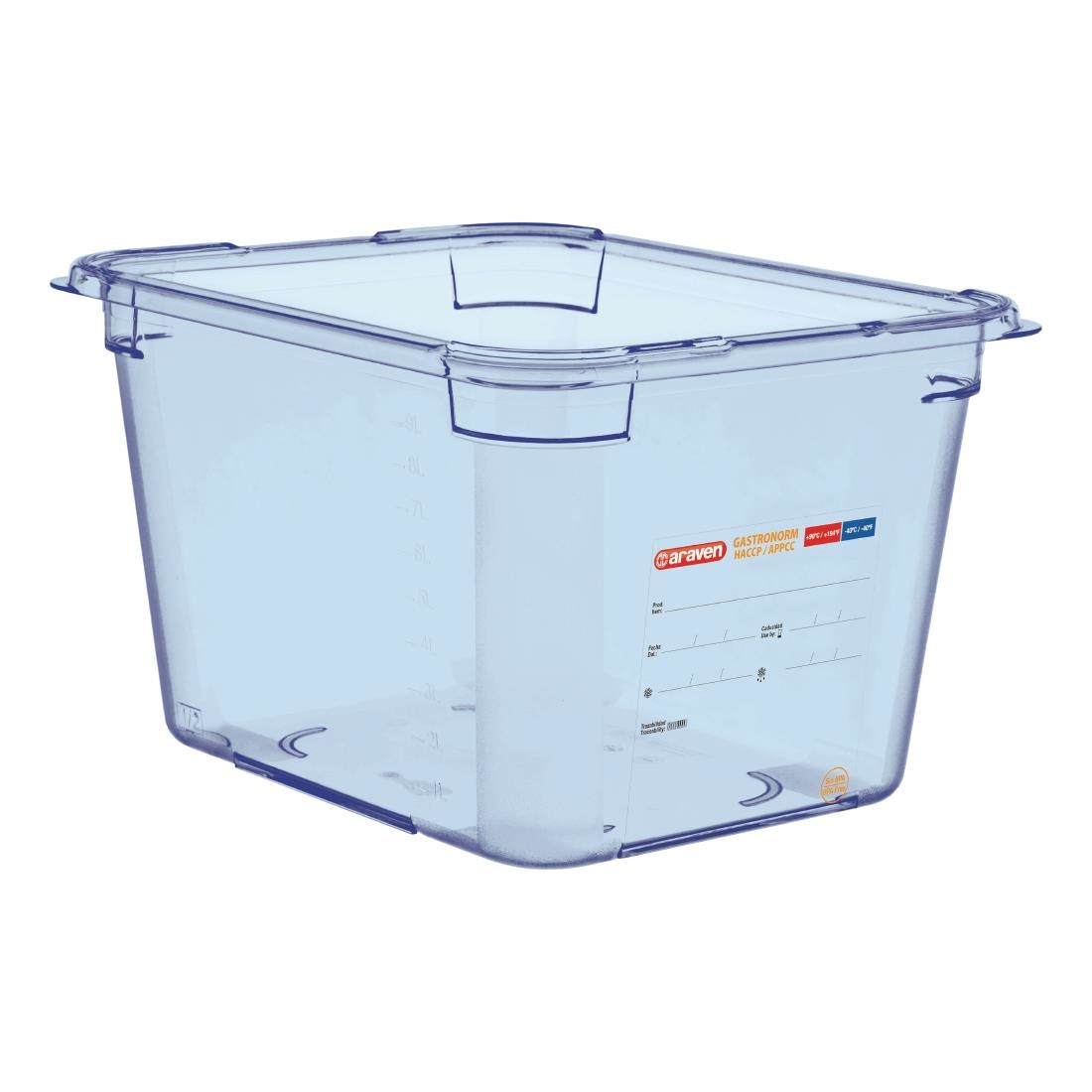Image of Araven ABS Food Storage Container Blue GN 1/2 200mm