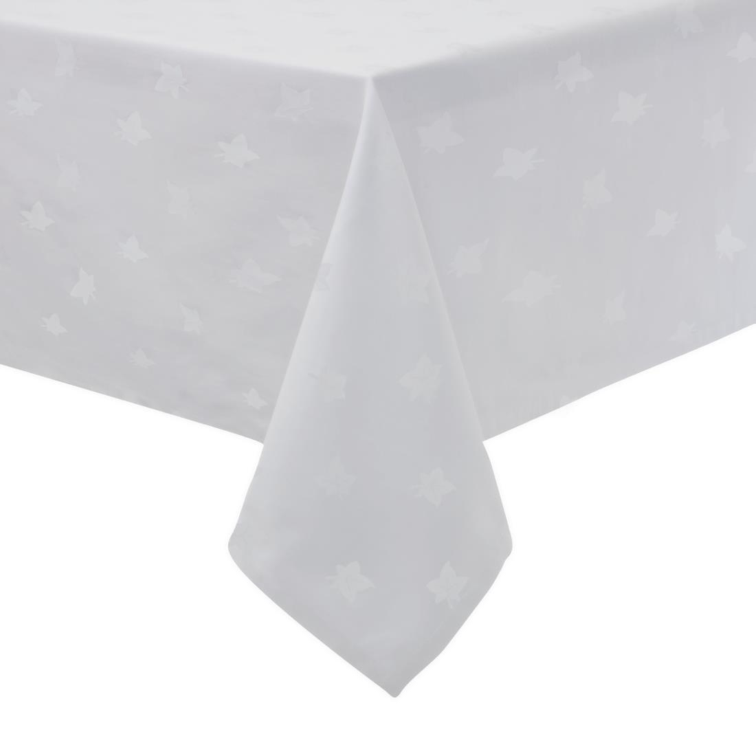 Image of Mitre Luxury Luxor Tablecloth Ivy Leaf White 1350 x 1350mm