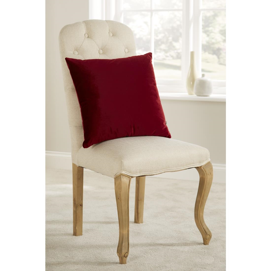 Image of Mitre Comfort DArcy Unpiped Cushion Burgundy