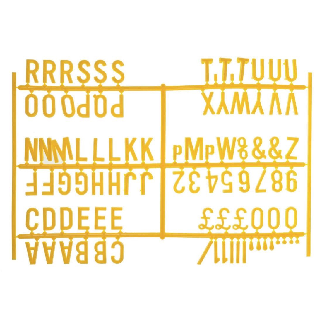 Image of Beaumont Peg Board 20mm Letters 540 Characters Yellow (Pack of 20) Pack of 20